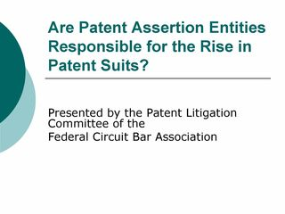 FCBA Webinar Feb 6 2014 - Are Patent Assertion Entities Responsible for the Rise in Patent Suits_Page_01